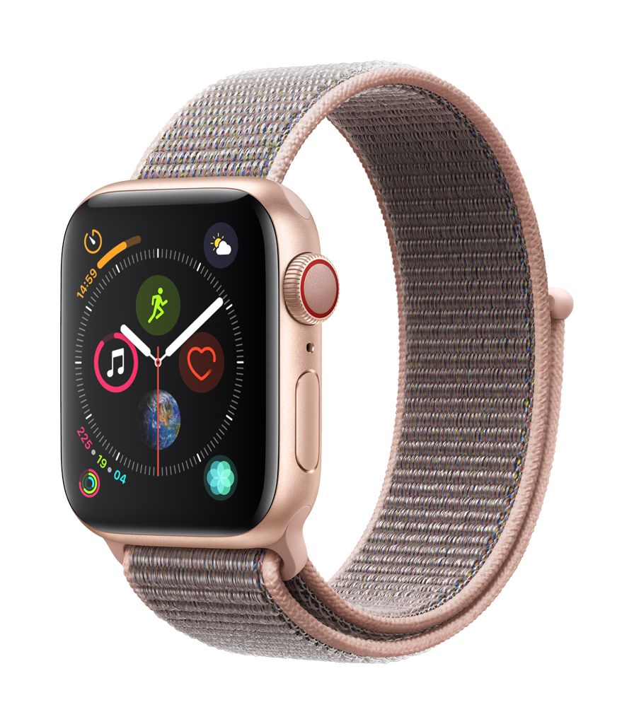 Apple Watch series 4 GPS, 44MM, Gold Aluminium Case, Pink Sand Sport Loop