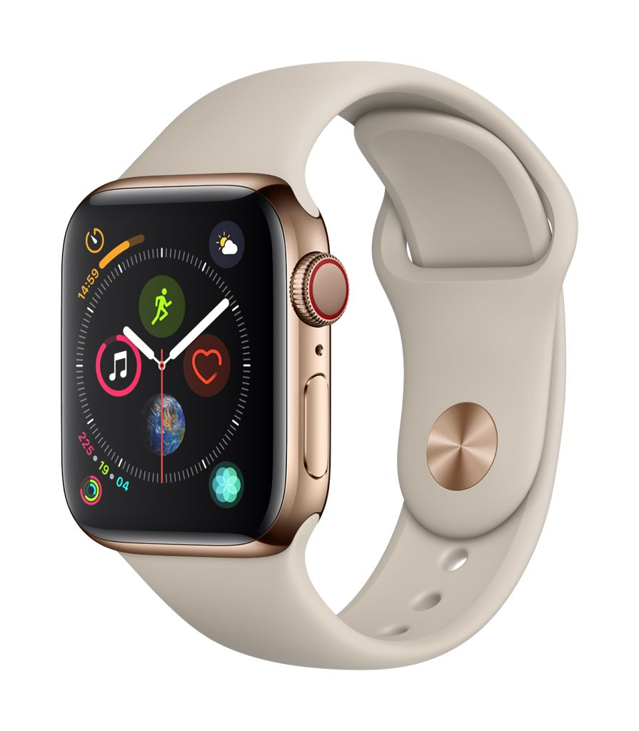 Apple Watch series 4 GPS, Cellular, 44MM, Gold Stainless Steel Case, Stone Sport Band