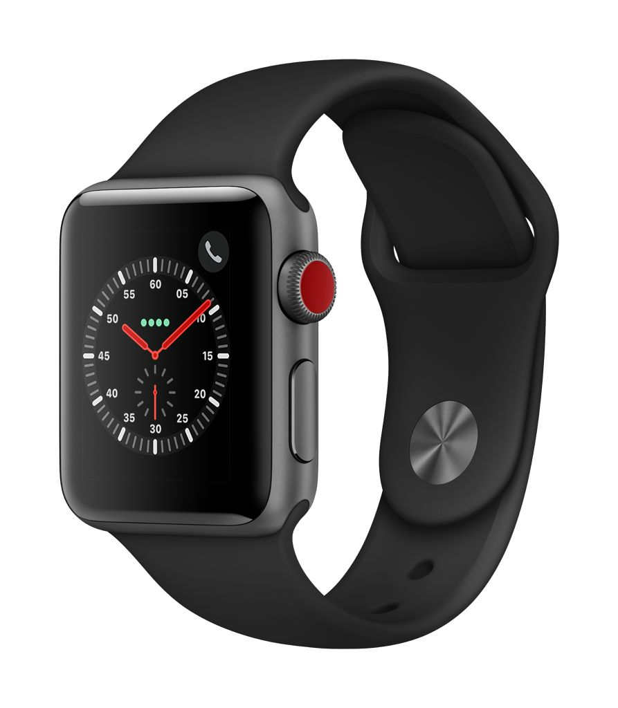 Apple Watch series 3 GPS, 38MM, Space Grey Aluminium Case, Black Sport Band