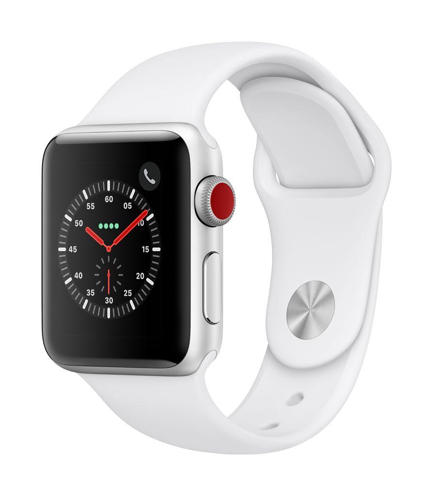 Apple Watch series 3 GPS, Cellular, 38MM, Silver Aluminium Case, White Sport Band