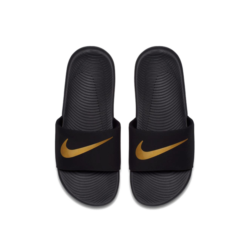 "Nike Nike Kawa Slide ""Black/Metallic Gold"" GS/PS 819352 003"