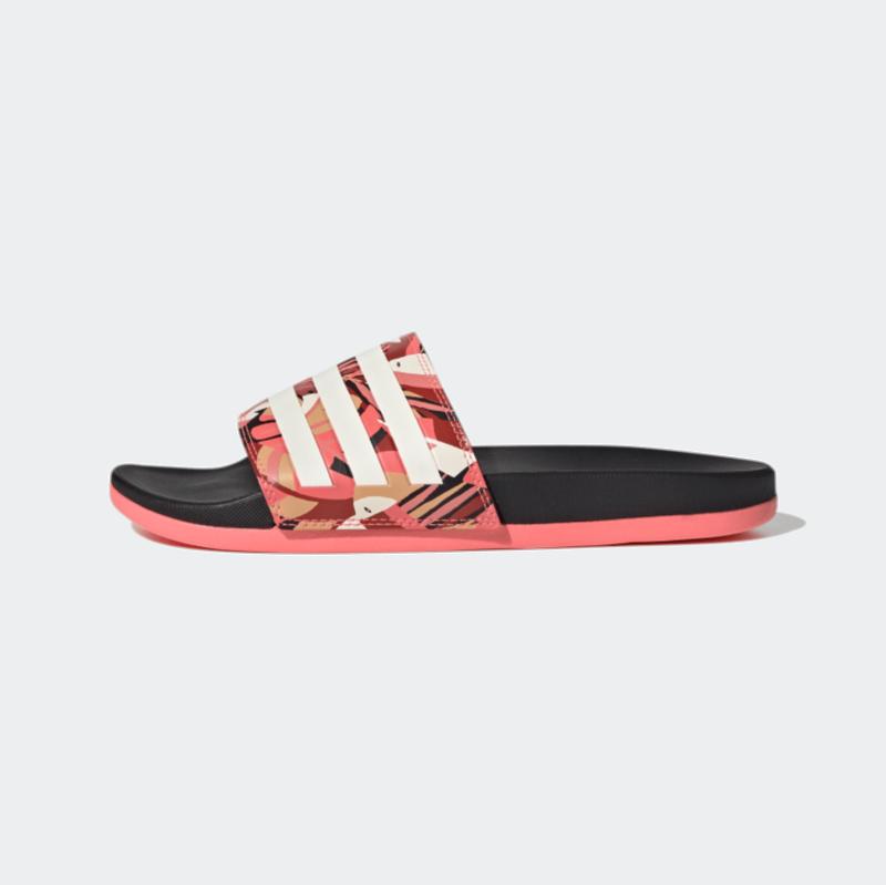 Adidas Adidas Women Adilette Comfort Slides Core Black/Linen/Signal Pink FW7256