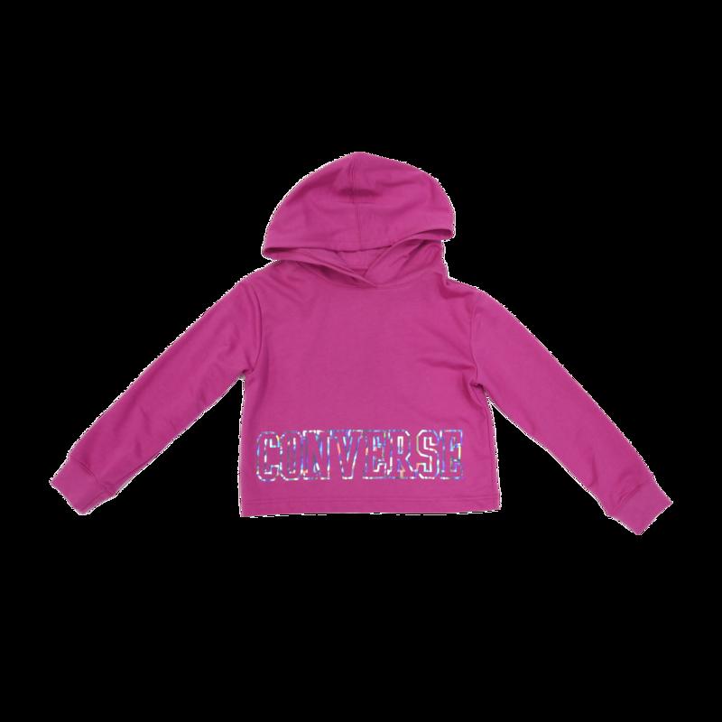 Converse Kids Crop Hoodie 'Pink/Metallic' 9046 A9X