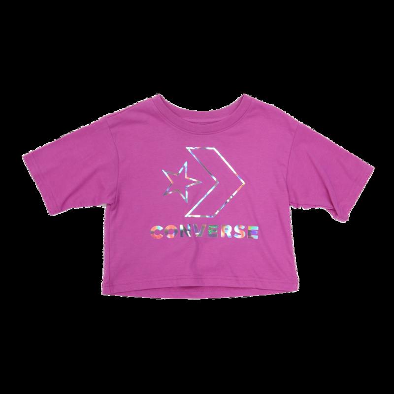 Converse Kids Crop Reflective Logo Tee 'Pink/Metallic' 8987 A9X