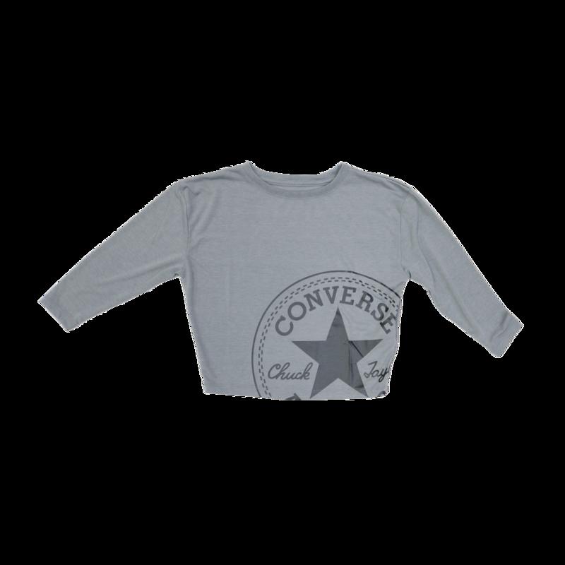 Converse Kids Crop Longleeve Logo Tee 'Grey/Metallic' 36 9998 GEH