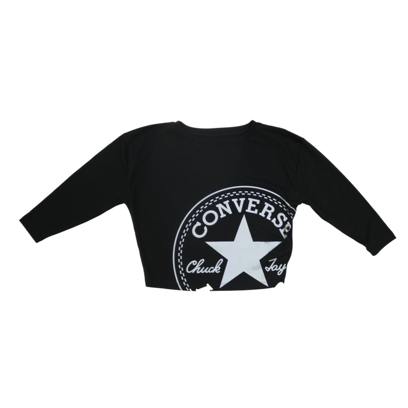 Converse Kids Crop Longleeve Logo Tee 'Black/Metallic' 46 9998 023