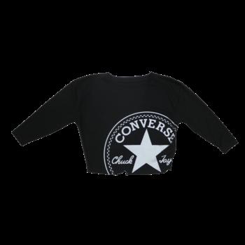 Converse Kids Crop Longleeve Logo Tee 'Black/Metallic' 36 9998 023