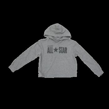 Converse Kids Crop Sparkle Hoodie 'Grey/Black' 46931 042