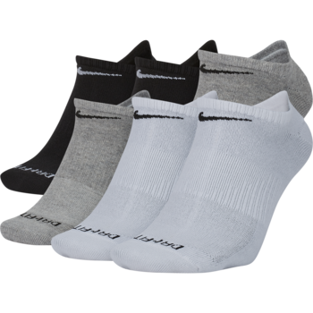 Nike Nike Dri-Fit Everyday Plus Lightwegiht No Show Sock Black/White/Grey L 6 Pack SX6900 925