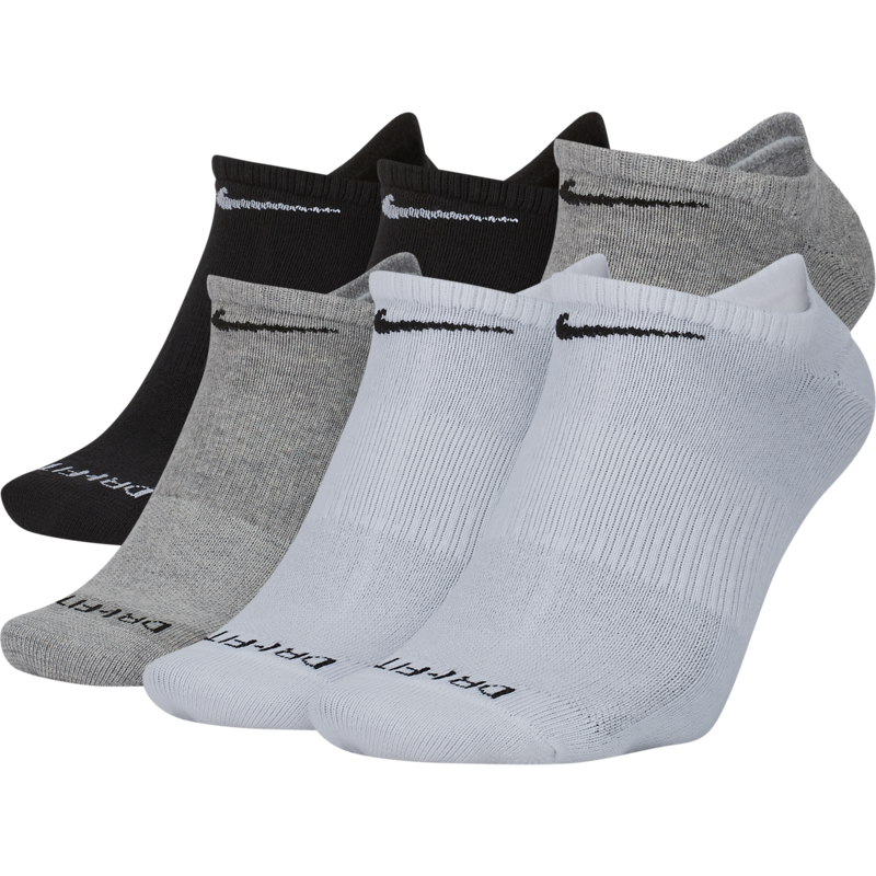 Nike Nike Dri-Fit Everyday Plus Lightwegiht No Show Sock Black/White/Grey L 6 Pack SX6900 925