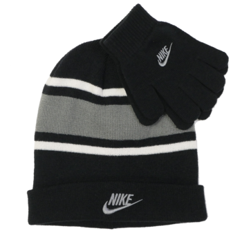 Nike Nike Youth Futura Beanie & Gloves Set - BLK/GRY - 9A2837