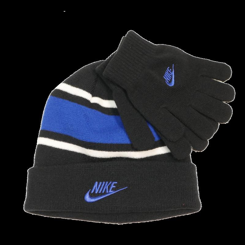Nike Nike Youth Futura Beanie & Gloves Set - BLK/RYL - 9A2837
