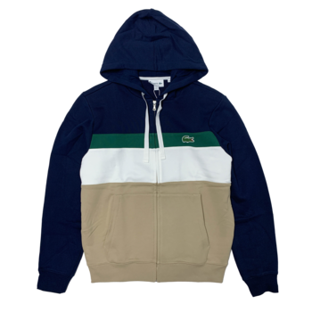 LACOSTE Lacoste Men's Colourblock Fleece Zippered Hooded Sweatshirt SH2176 52 BW3