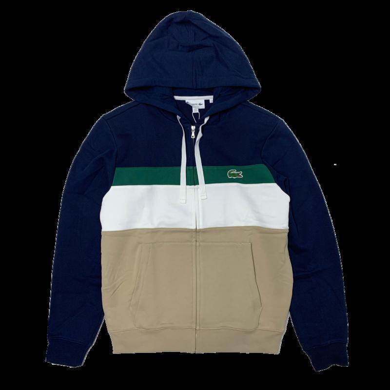 LACOSTE Lacoste Men's Colourblock Fleece Zippered Hooded Sweatshirt SH2176 52 BW3
