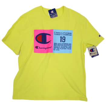 Champion Champion Men's 'It Takes A Little More' Graphic Tee Yellow/Pink/Blue T1919G