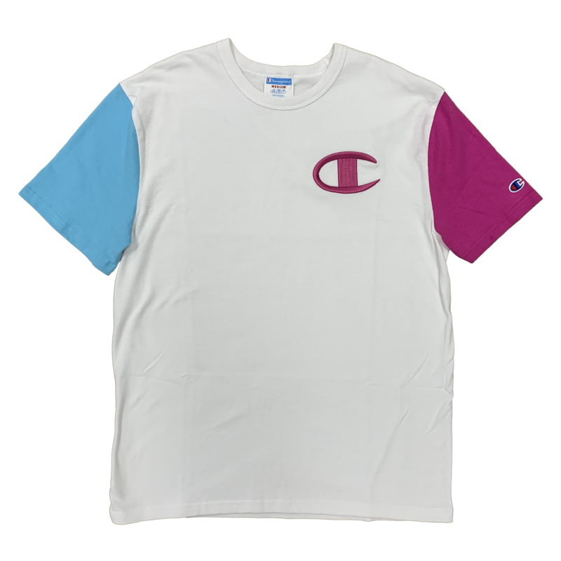 Champion Champion Color Block Embroider C Shirt T7041 White/Blue/Pink
