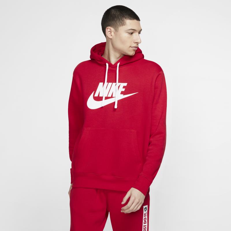Nike Nike Mens NSW Club Hoodie Pull Over Red BV2973 657