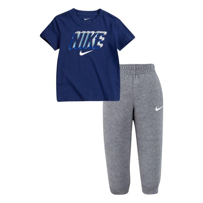 Nike Nike Boys2 Piece Set Swoosh Logo Carbon Heather/Navy 86H372 GEH