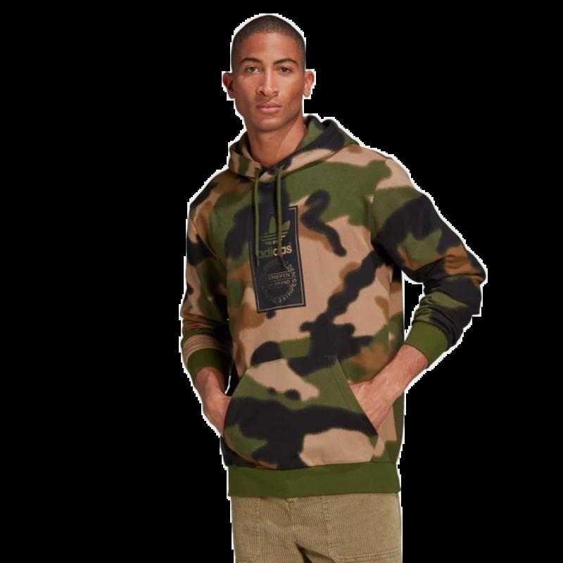 Adidas Adidas Men's Camo Allover Print Hoodie Wild Pine / Multicolor / Black GN1879