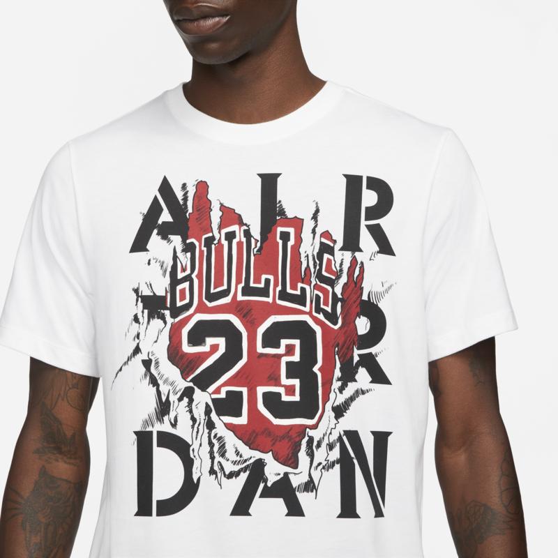 Air Jordan Air jordan Men's Bulls Tee 23 White/Black/Red DD5259 100