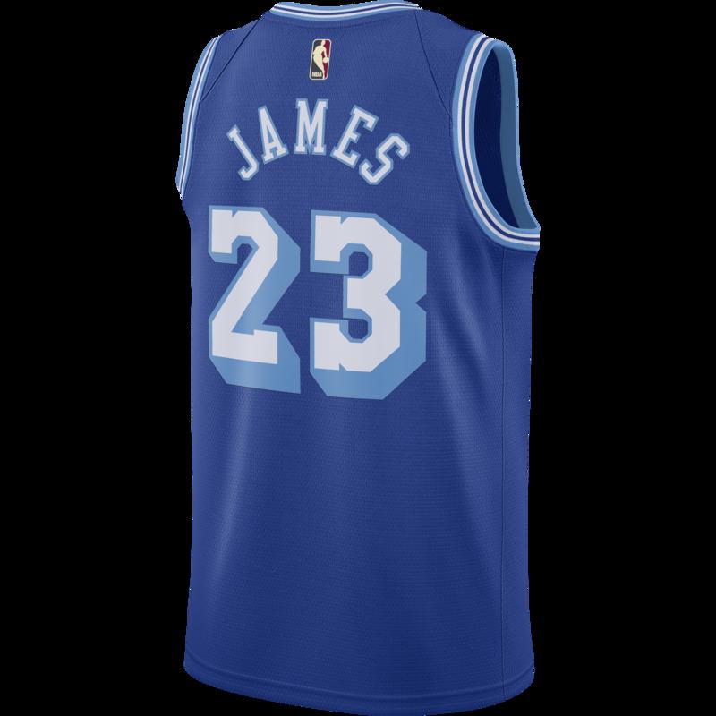Air Jordan Nike Men's Los Angeles Lakers LeBron James Swingman Jersey Blue CN1027 404