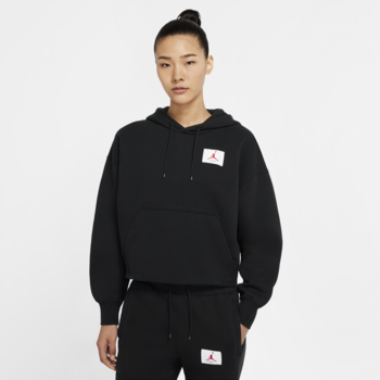 Air Jordan Air Jordan Women's Fleece Cropped Pullover Hoodie Black/White CV7737 010