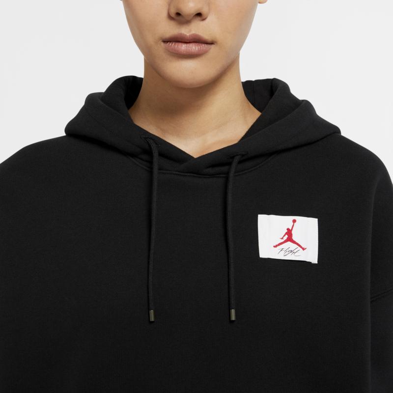 Air Jordan Air Jordan Women's Fleece Cropped Pullover Hoodie Black/White CV7737 010
