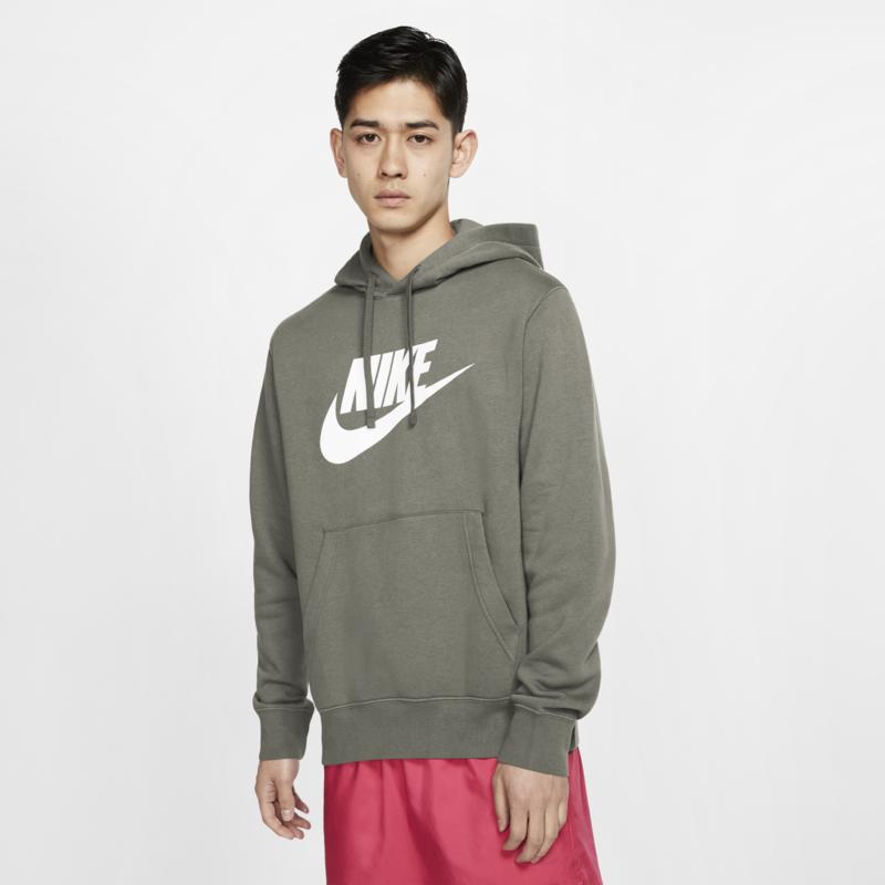 Nike Nike Mens NSW Club Hoodie Pull Over Olive BV2973 320