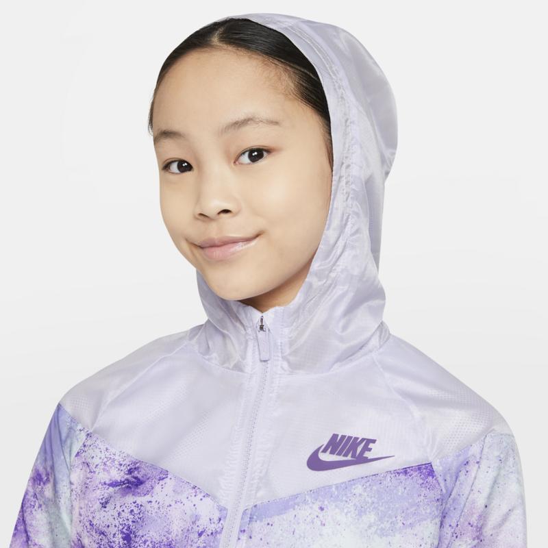 Nike Nike Girls NSW All Over Print Jacket Purple DA1398 572