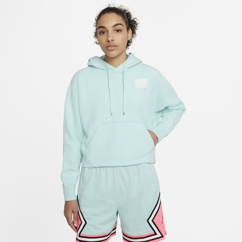 Air Jordan Air Jordan Women's Fleece Cropped Pullover Hoodie Teal CV7737 382
