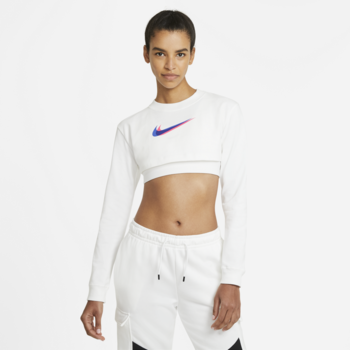 Nike Nike Womens Long Sleeve Crop Print White DJ4122 100
