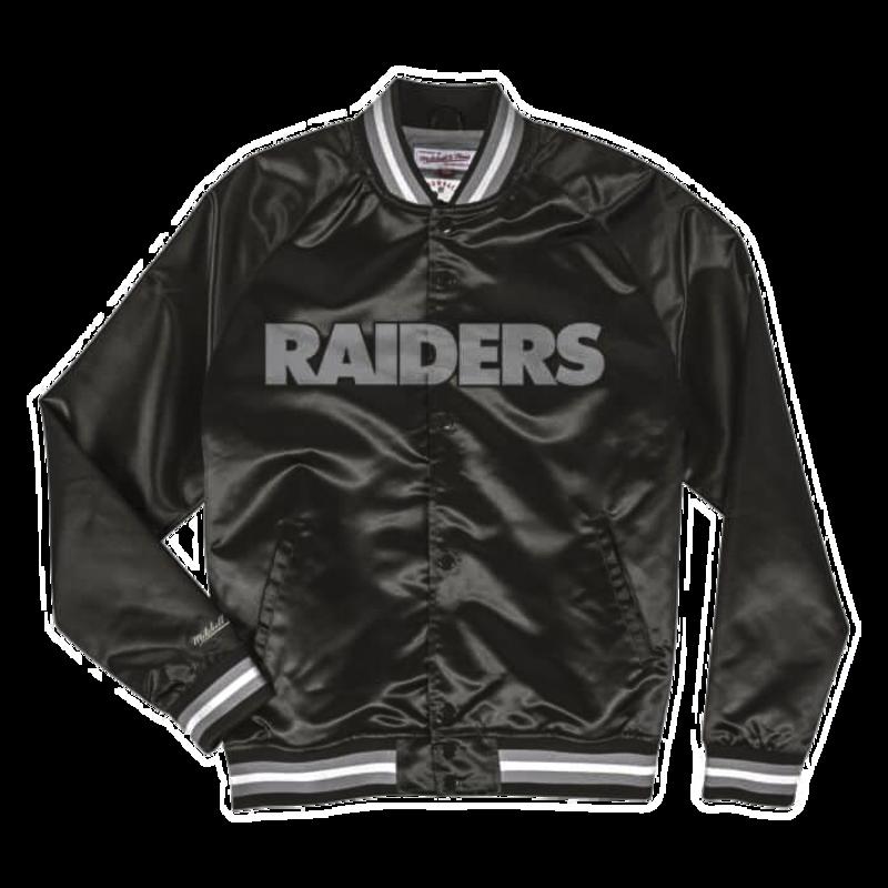 Mitchell & Ness Mitchell & Ness Lightweight Satin Jacket Oakland Raiders Black/Silver