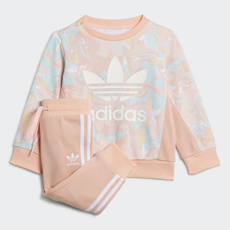 Adidas Adidas Kids Allover Print Marble Crew Set 'Pink Tint/Multicolor' H22632