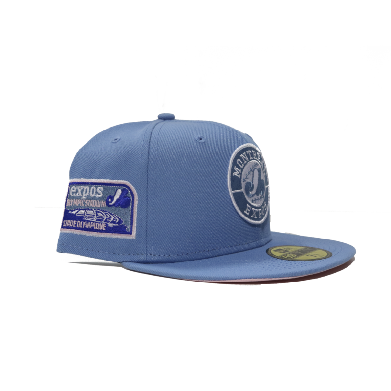 """New Era New Era Montreal Expos """"Sky Blue Pack"""" Pink Underbim UV Olympic Stadium Patch 59fifty Fitted"""