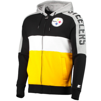 Starter Starter Fleece Full Zip Embroidered Patch Hoodie Steelers Black/Yellow-White 6S100709