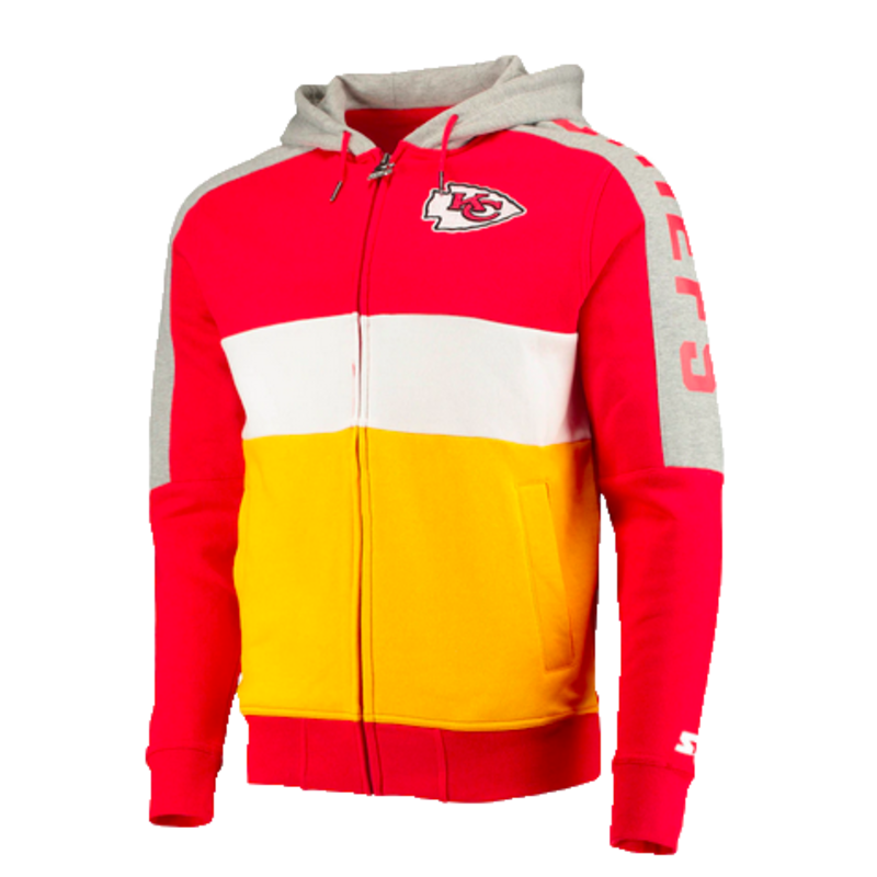 Starter Starter Fleece Full Zip Embroidered Patch Hoodie Chiefs Red/Yellow-White 6S100709