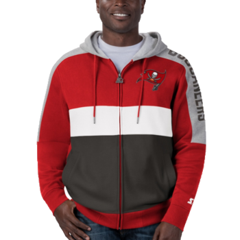 Starter Starter Fleece Full Zip Embroidered Patch Hoodie Buccaneers Red/Charcoal-White 6S100709