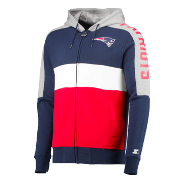 Starter Starter Fleece Full Zip Embroidered Patch Hoodie Patriots Red/Navy-White 6S100709
