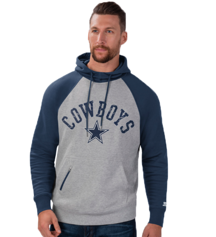 Starter Starter Fleece Pullover Embroidered Patch Hoodie Cowboys 6S100707