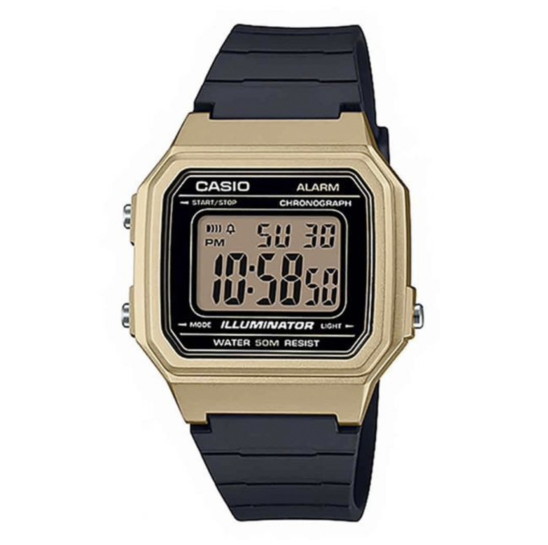 g-shock Casio W217HM-9A Black Gold Rubber Band