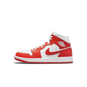 Air Jordan Womens Air Jordan 1 Mid Syracuse White Habanero Red BQ6472 116