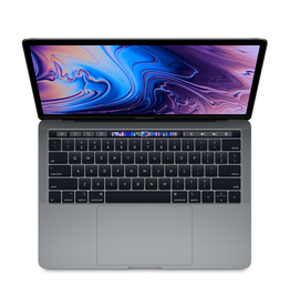 Apple 13-inch MacBook Pro with Touch Bar Space Gray: 2.4GHz quad-core 8th-generation Intel Core i5 processor, Turbo Boost up to 4.1GHz, Intel Iris Plus Graphics 655, 8GB 2133MHz LPDDR3 memory, 256GB SSD storage,<br /> Retina display with True Tone,<br /> Touch Bar and Touc