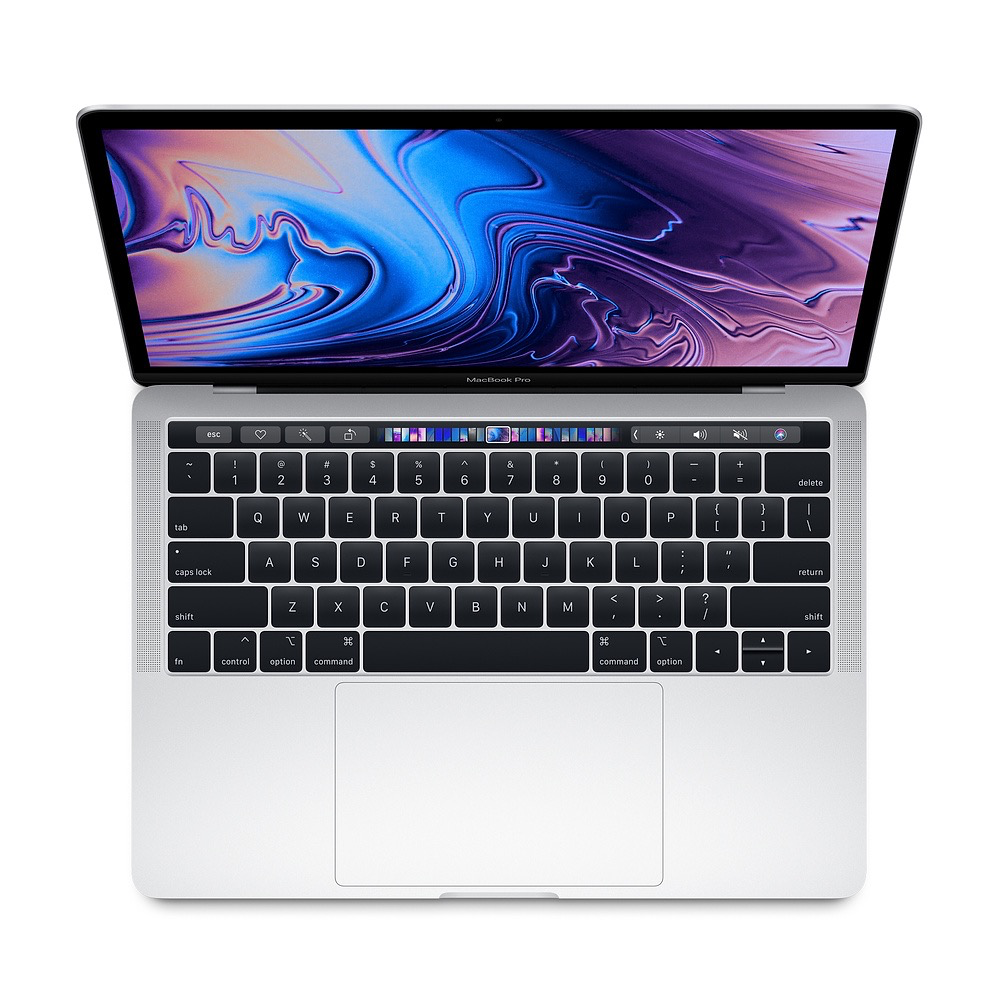 Apple 13-inch MacBook Pro with Touch Bar Silver: 2.4GHz quad-core 8th-generation Intel Core i5 processor,<br /> Turbo Boost up to 4.1GHz, Intel Iris Plus Graphics 655, 8GB 2133MHz LPDDR3 memory, 256GB SSD storage, Retina display with True Tone, Touch Bar and Touch ID