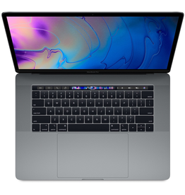 Apple 15-inch MacBook Pro with Touch Bar Space Gray: 2.3GHz 8-core 9th-generation Intel Core i9 processor, Turbo Boost up to 4.8GHz, Radeon Pro 560X with 4GB of GDDR5 memory,<br /> 16GB 2400MHz DDR4 memory,<br /> 512GB SSD storage, Retina display with True Tone, Touch Bar