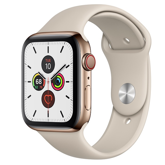 Apple Apple Watch Series 5 GPS + Cellular, 44mm Gold Stainless Steel Case with Stone Sport Band - S/M & M/L