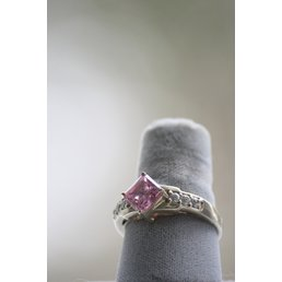 Jewelry & Adornments Ring, Pink & Clear CZ in silver, sz 9