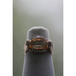 Jewelry & Adornments Ring, Citrine/Clear CZ in Sterling Silver, sz 6