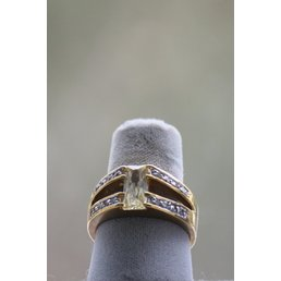 Jewelry & Adornments Ring, Citrine & Clear CZs in gold, sz 10