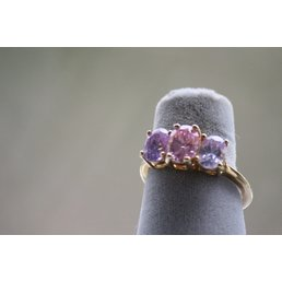 Jewelry & Adornments Ring, Pink & Purple CZ in gold, sz 8