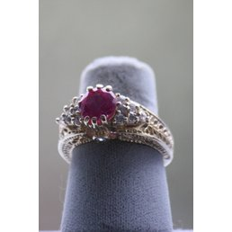 Jewelry & Adornments Ring Fuchsia & Clear CZ in silver, sz 7
